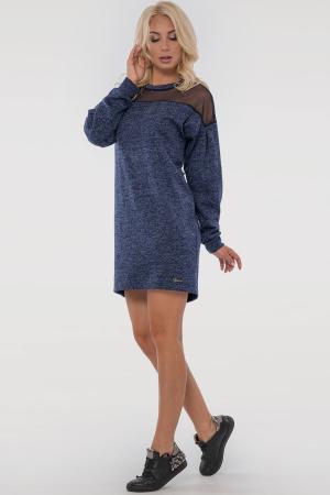 Повседневное платье туника синего цвета|интернет-магазин vvlen.com