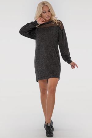 Повседневное платье туника темно-серого цвета 2849.96|интернет-магазин vvlen.com