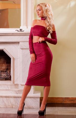 Женский костюм с юбкой бордового цвета |интернет-магазин vvlen.com