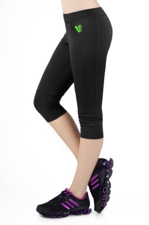 Бриджи для фитнеса черного с зеленым цвета 2237.67|интернет-магазин vvlen.com