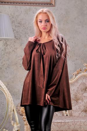 Туника оверсайз коричневого цвета 2450.86|интернет-магазин vvlen.com