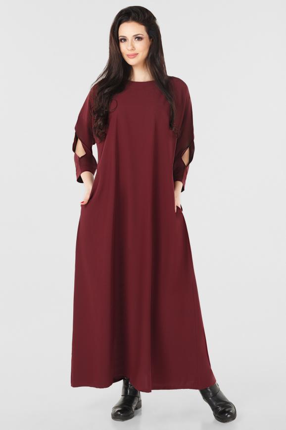 Платье оверсайз бордового цвета|интернет-магазин vvlen.com