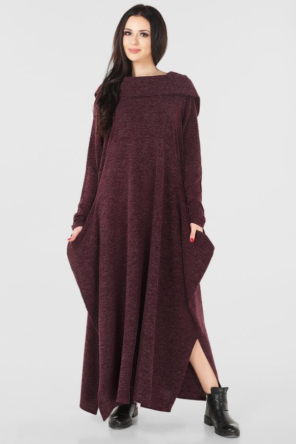 Платье оверсайз махагона коричневого цвета|интернет-магазин vvlen.com