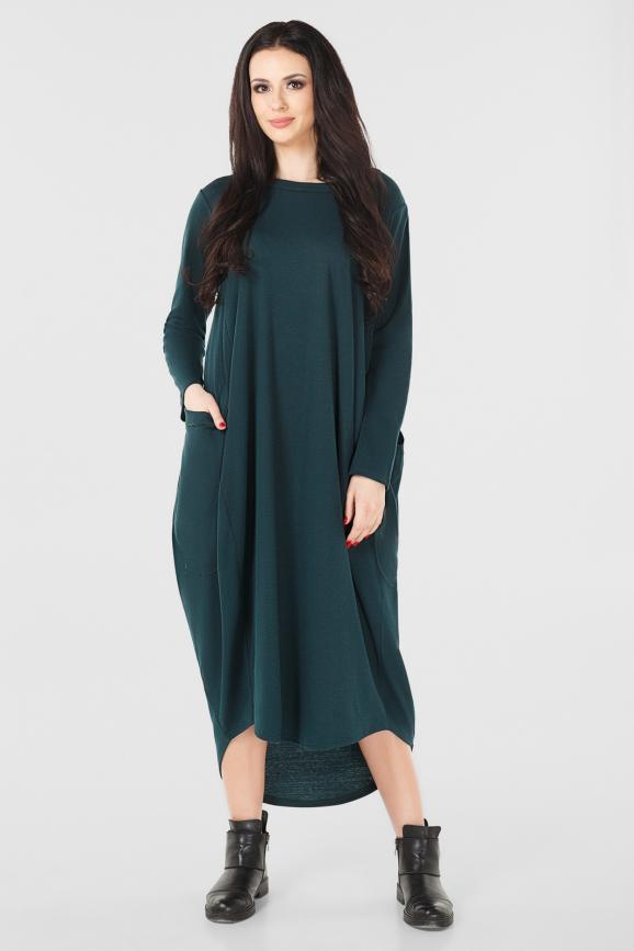 Платье оверсайз темно-зеленого цвета|интернет-магазин vvlen.com