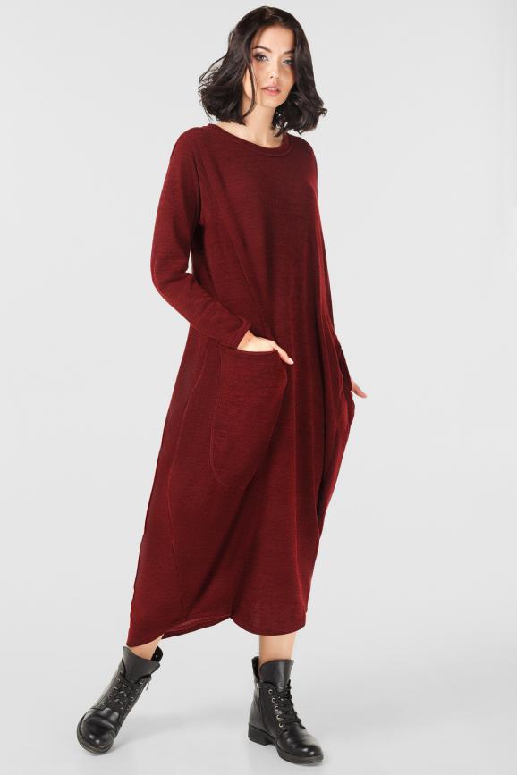Платье оверсайз бордового цвета it 228|интернет-магазин vvlen.com