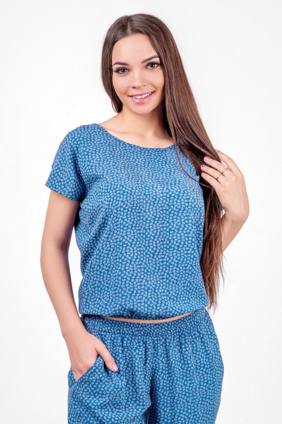 Блуза голубого с белым цвета 2374 .84d26|интернет-магазин vvlen.com