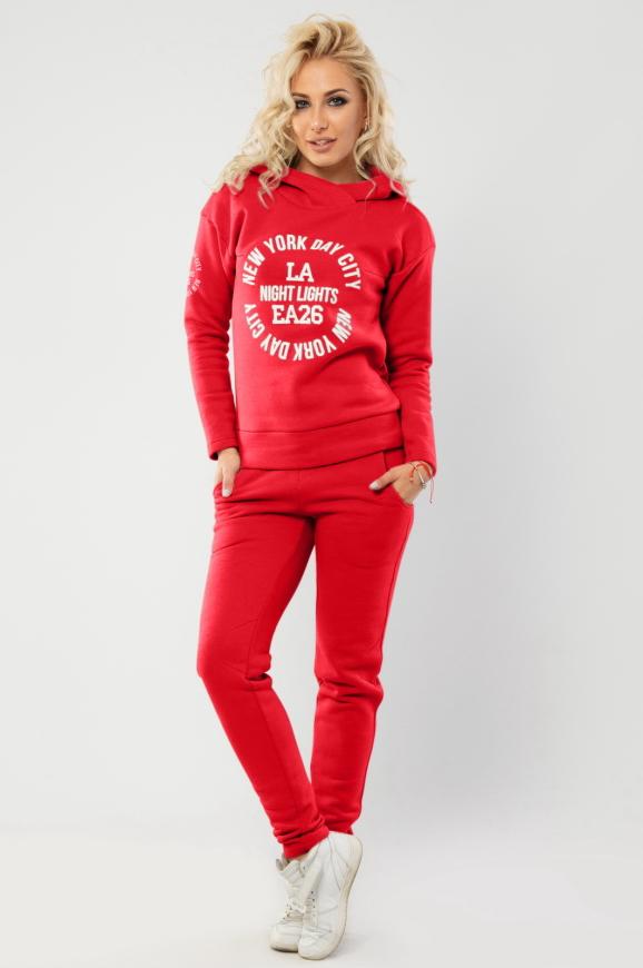 Домашний костюм красного цвета 055|интернет-магазин vvlen.com