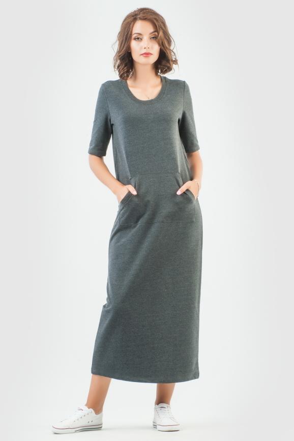 Спортивное платье  темно-серого цвета 6000-3|интернет-магазин vvlen.com