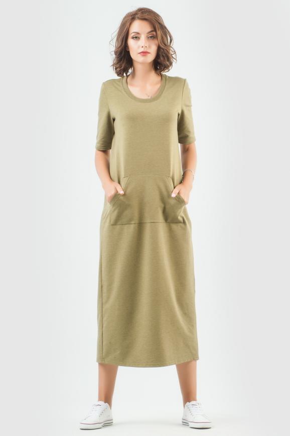 Спортивное платье  хаки цвета 6000-3|интернет-магазин vvlen.com