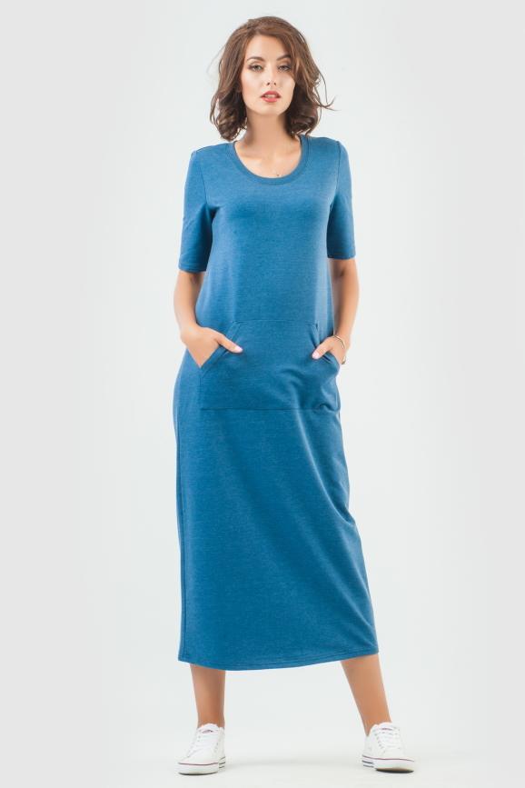 Спортивное платье  синего цвета 6000-3 интернет-магазин vvlen.com