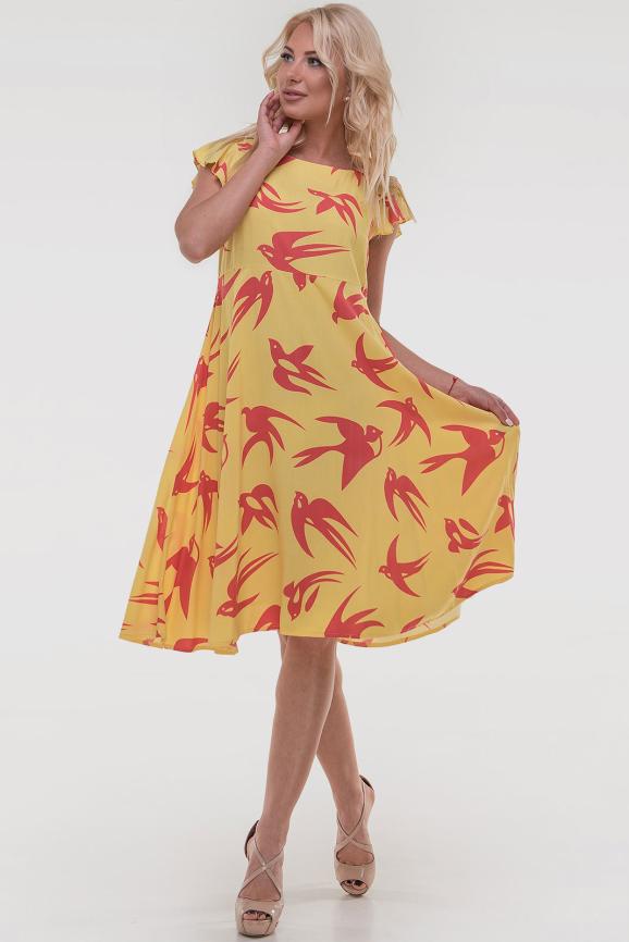 Летнее платье с расклешённой юбкой желтого цвета 2560.84|интернет-магазин vvlen.com