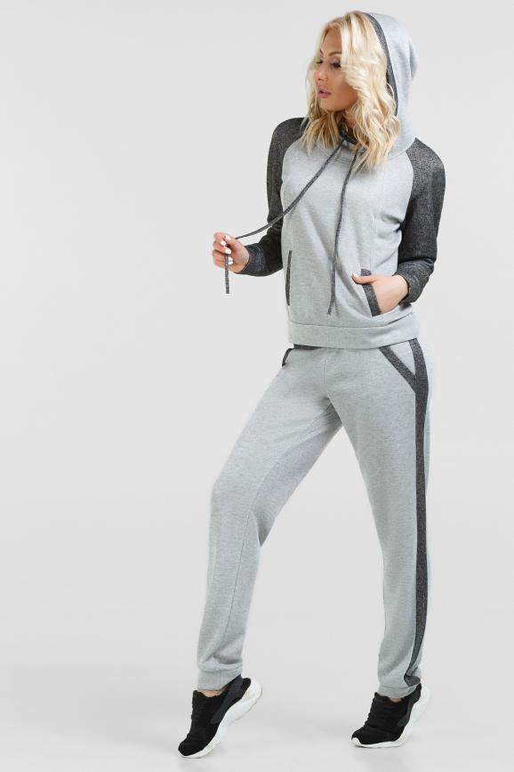 Трикотажный костюм с люрексом светло-серого цвета|интернет-магазин vvlen.com