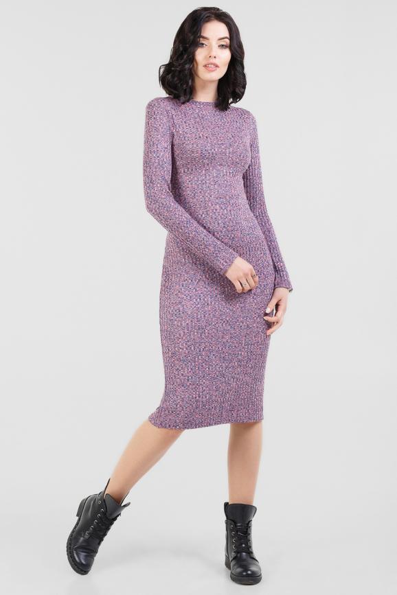Повседневное платье футляр фрезового цвета 2431-1.31|интернет-магазин vvlen.com