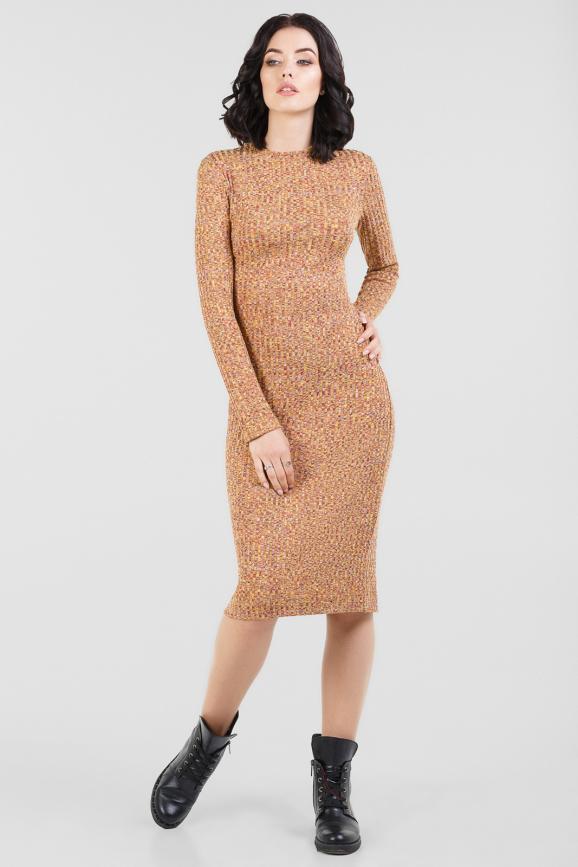 Повседневное платье футляр горчичного цвета 2431-1.31 интернет-магазин vvlen.com
