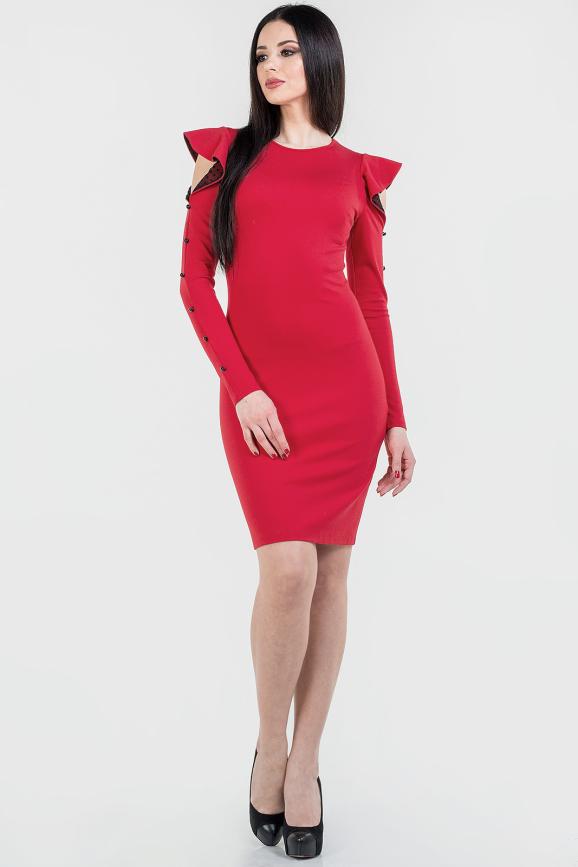 Коктейльное платье футляр красного цвета 2662.47|интернет-магазин vvlen.com