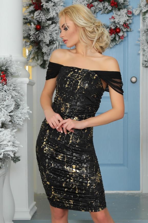 Коктейльное платье футляр черного цвета 2437-2.13|интернет-магазин vvlen.com