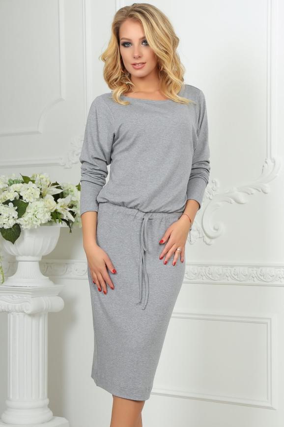 Повседневное платье футляр светло-серого цвета 2478.65|интернет-магазин vvlen.com