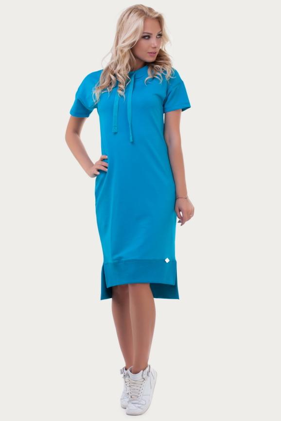 Спортивное платье  бирюзового цвета 6004|интернет-магазин vvlen.com