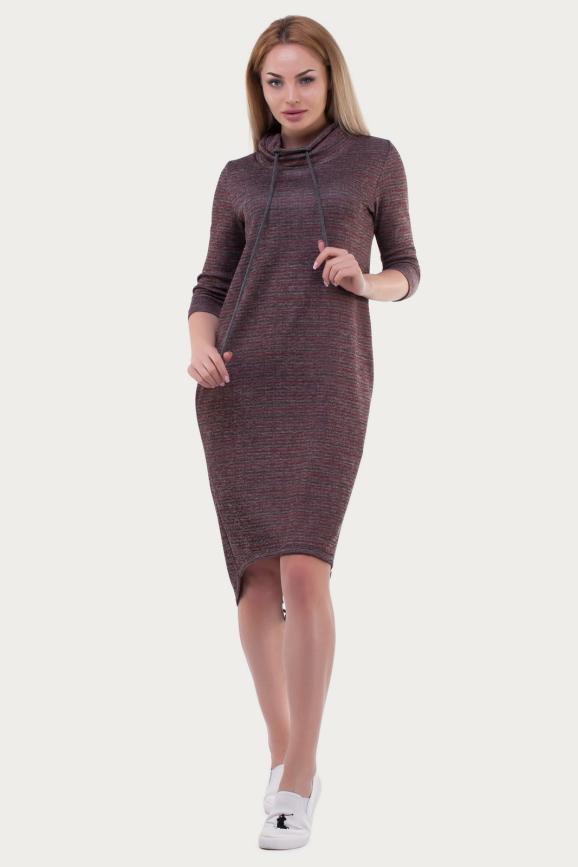 Спортивное платье  бордового цвета 6006|интернет-магазин vvlen.com