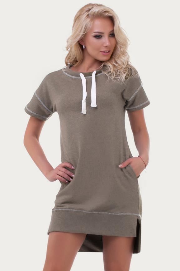 Спортивное платье  бежевого цвета 6004|интернет-магазин vvlen.com