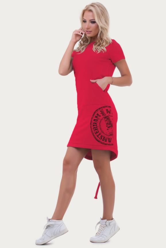 Спортивное платье  малинового цвета 6005-1|интернет-магазин vvlen.com