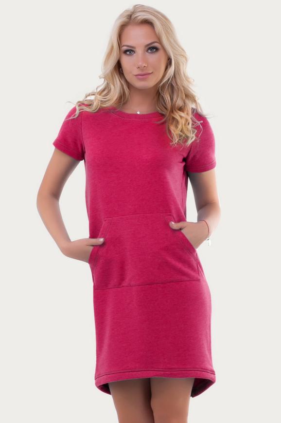 Спортивное платье  малинового цвета 6005|интернет-магазин vvlen.com
