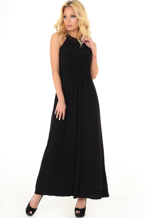 Вечернее платье-комбинация черного цвета|интернет-магазин vvlen.com