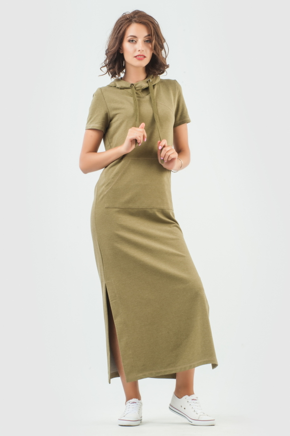 Спортивное платье  хаки цвета 6009-1|интернет-магазин vvlen.com
