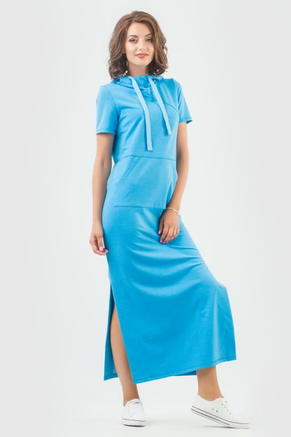 Спортивное платье  голубого цвета 6009-1|интернет-магазин vvlen.com