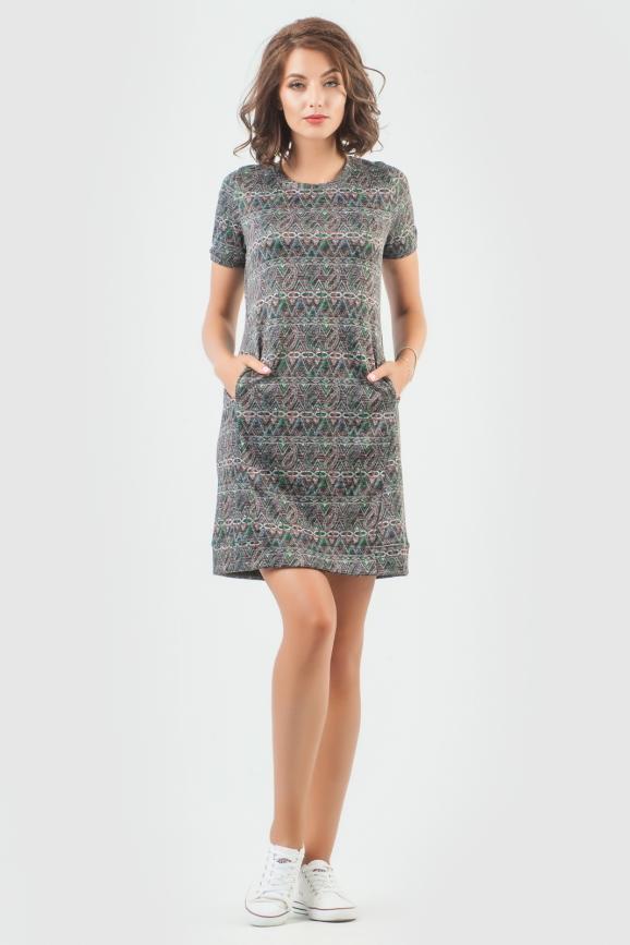 Спортивное платье  серого цвета 6001-1|интернет-магазин vvlen.com