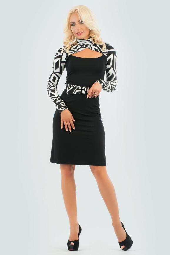 Офисное платье футляр черного цвета 794.2|интернет-магазин vvlen.com