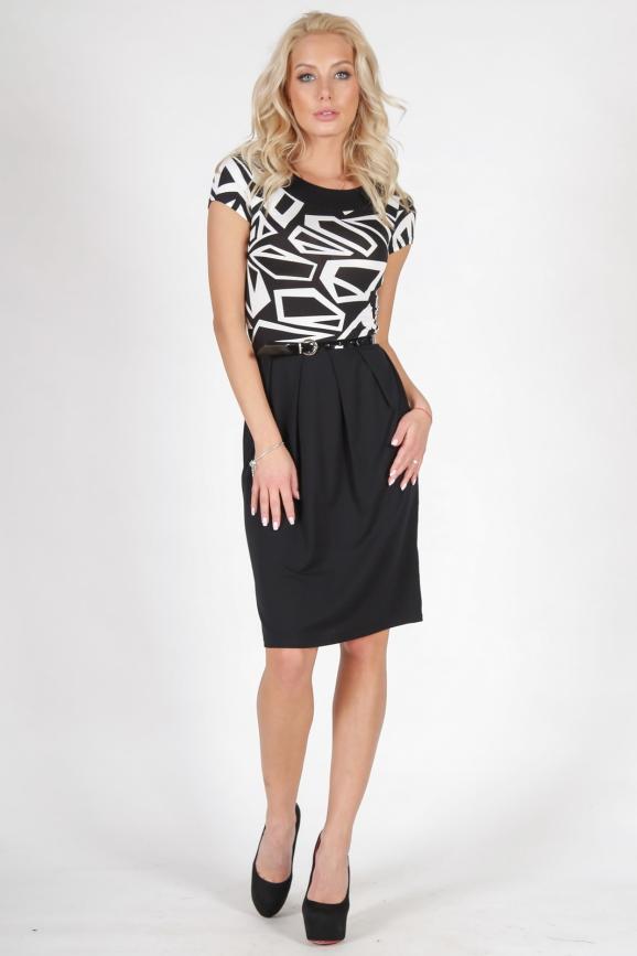 Офисное платье с юбкой тюльпан черного с белым цвета 817.2|интернет-магазин vvlen.com
