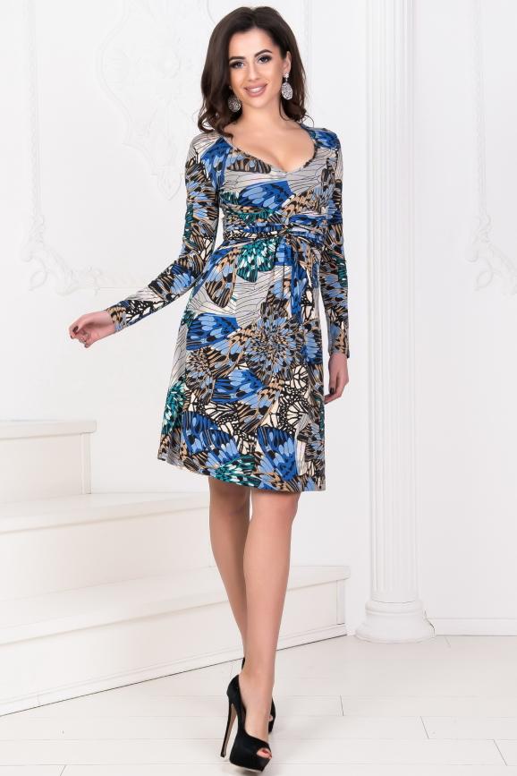 Повседневное платье с расклешённой юбкой синего тона цвета 1021.17|интернет-магазин vvlen.com