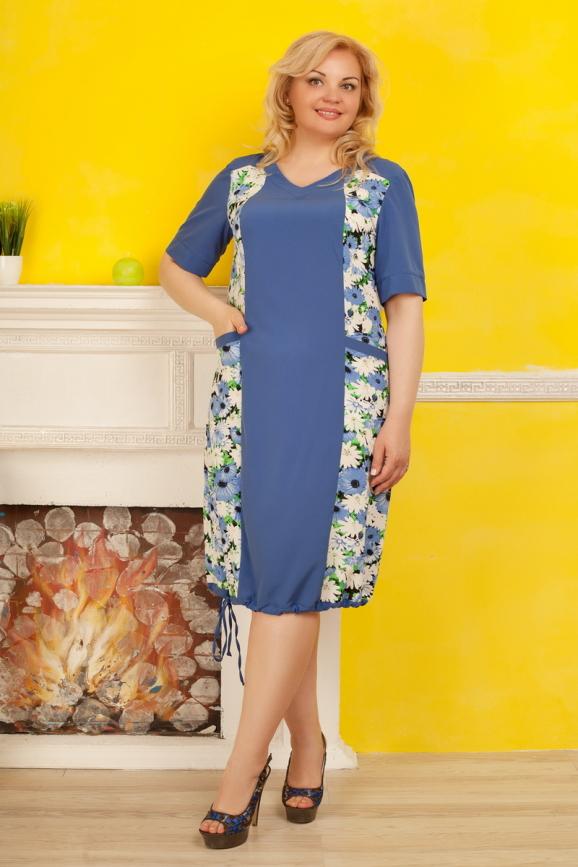 Летнее платье-баллон голубого с белым цвета|интернет-магазин vvlen.com
