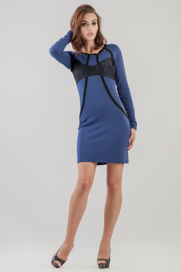 Повседневное платье футляр синего цвета|интернет-магазин vvlen.com