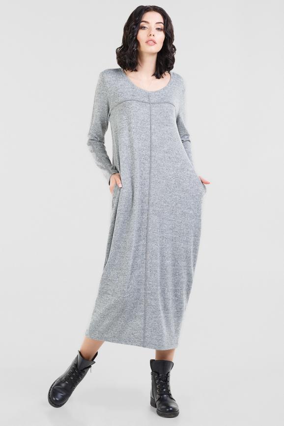Повседневное платье балахон серого цвета|интернет-магазин vvlen.com