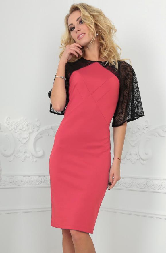Коктейльное платье футляр розового цвета 2522.47|интернет-магазин vvlen.com