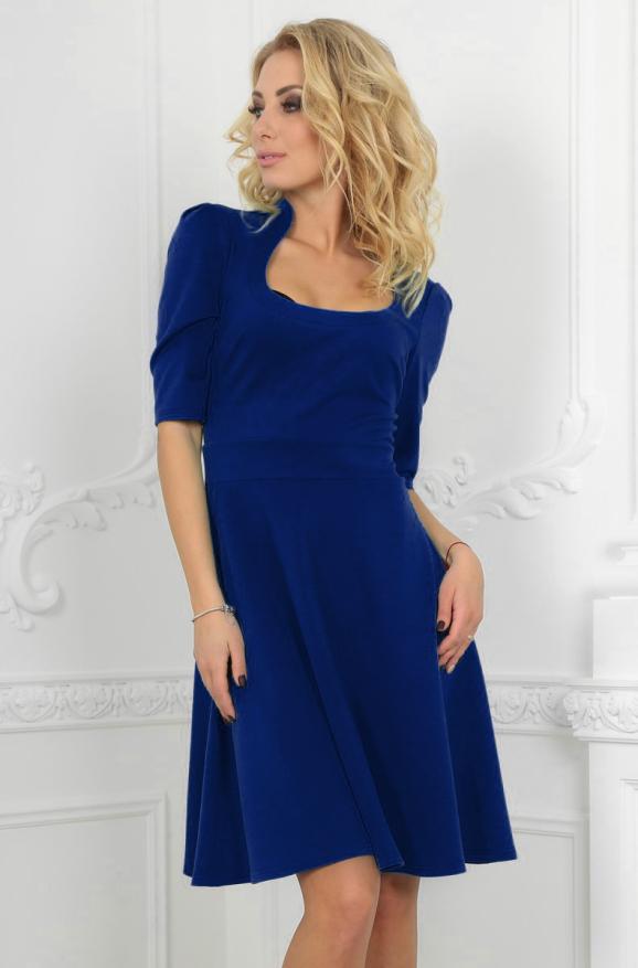 Повседневное платье с расклешённой юбкой электрика цвета|интернет-магазин vvlen.com
