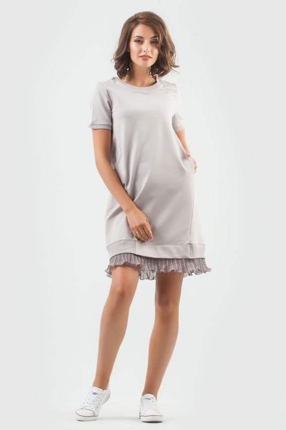 Спортивное платье  светло-серого цвета 6001-2 интернет-магазин vvlen.com