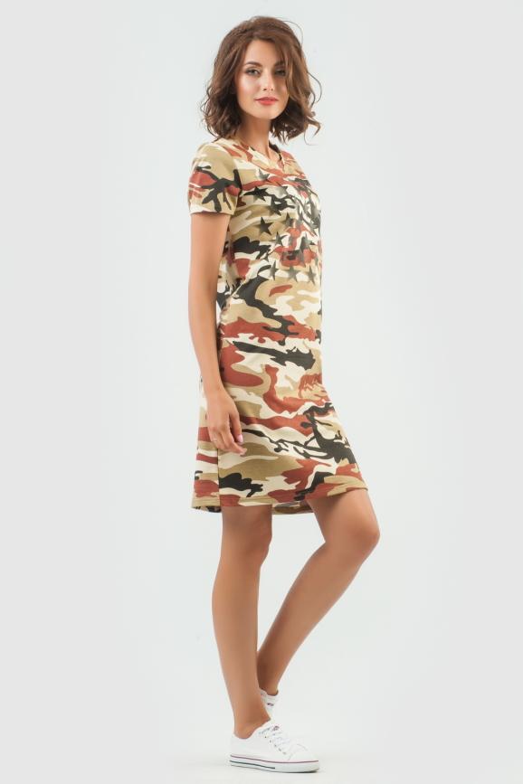 Спортивное платье  коричневого цвета 6003-1|интернет-магазин vvlen.com
