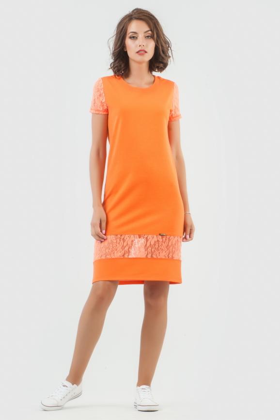 Спортивное платье  оранжевого цвета 6003-3|интернет-магазин vvlen.com