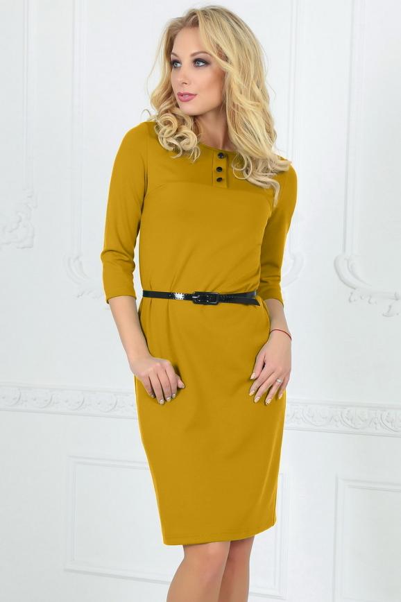 Офисное платье футляр горчичного цвета 1406-1.47 интернет-магазин vvlen.com