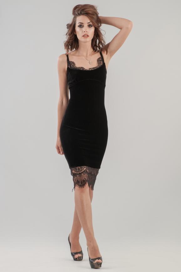 Коктейльное платье-комбинация черного цвета 2628.26|интернет-магазин vvlen.com