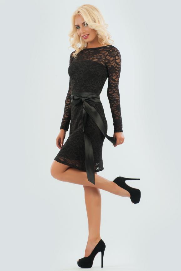 Коктейльное платье футляр черного цвета 840.12|интернет-магазин vvlen.com