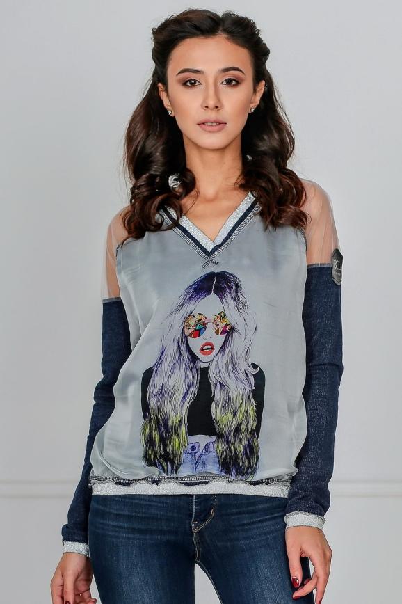 Блуза серого с синим цвета|интернет-магазин vvlen.com
