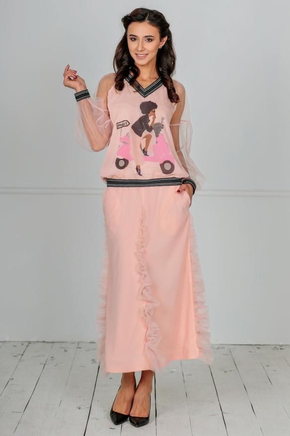Женский костюм с юбкой миди пудры цвета|интернет-магазин vvlen.com