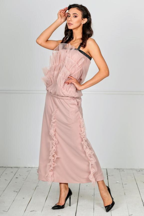 Женский костюм с юбкой миди фрезового цвета kl  193-1812|интернет-магазин vvlen.com