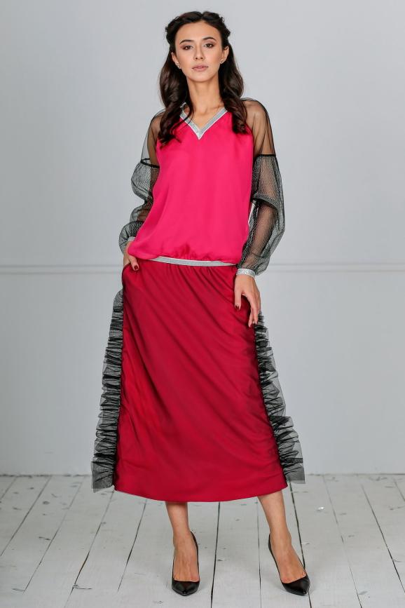 Женский костюм с юбкой миди малинового цвета|интернет-магазин vvlen.com