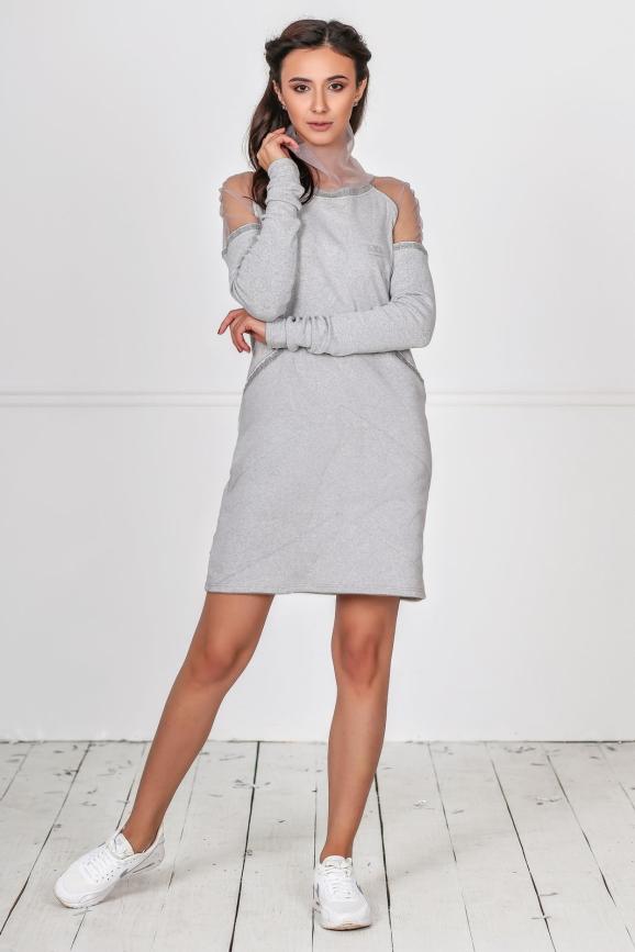 Клубное спортивное платье светло-серого цвета kl  184|интернет-магазин vvlen.com