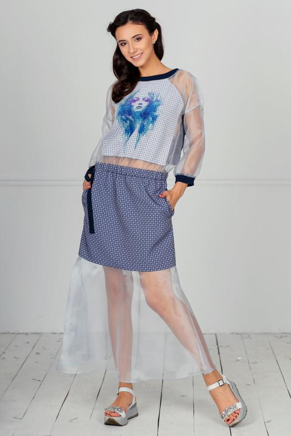 Клубное платье с расклешённой юбкой бирюзового цвета kl  185|интернет-магазин vvlen.com